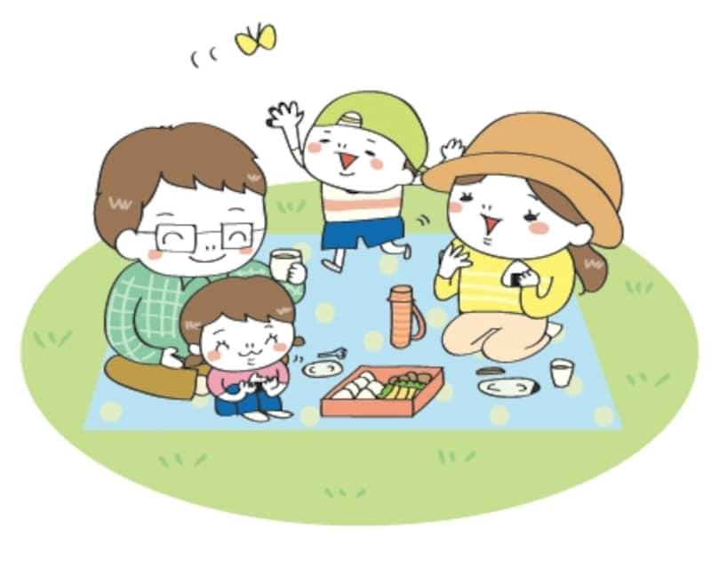 家族ピクニック 遠足 イラスト カラー かわいい