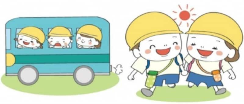 遠足 イラスト ピクニック かわいい 保育園 バス