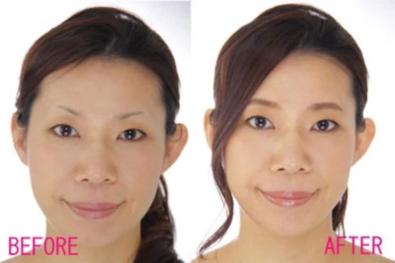 左:BEFORE抜きすぎ眉undefinedundefined右;AFTER自然な太眉