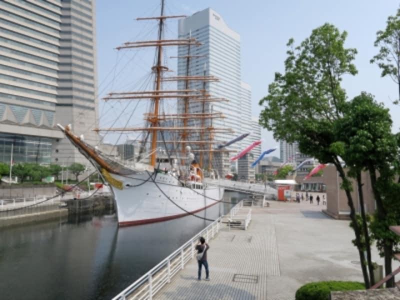 飼い主が見つかったことを子どもたちに告げられるシーンは「帆船日本丸」前(2016年5月2日撮影)