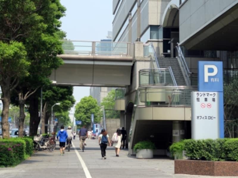 波瑠さん演じる柴山美咲と犬の散歩中に偶然出会った(ように装った)のは、みなとみらい大通りに面している歩道(2016年5月2日撮影)