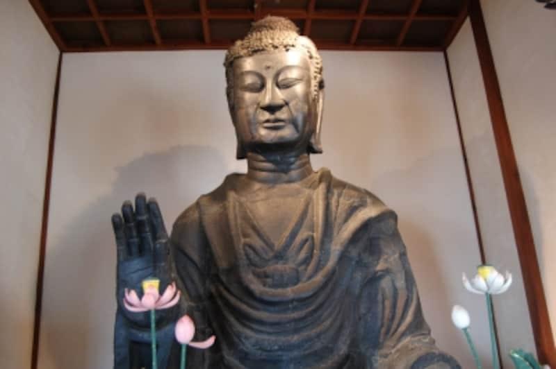 飛鳥大仏は、法隆寺の釈迦三尊像と同じ鞍作鳥の作ということで、全体的に共通する部分が多い。ただし、鎌倉時代に落雷で半壊するなど、後世の補修による部分が多く、当初から残るのは目と額、右手指3本のみ