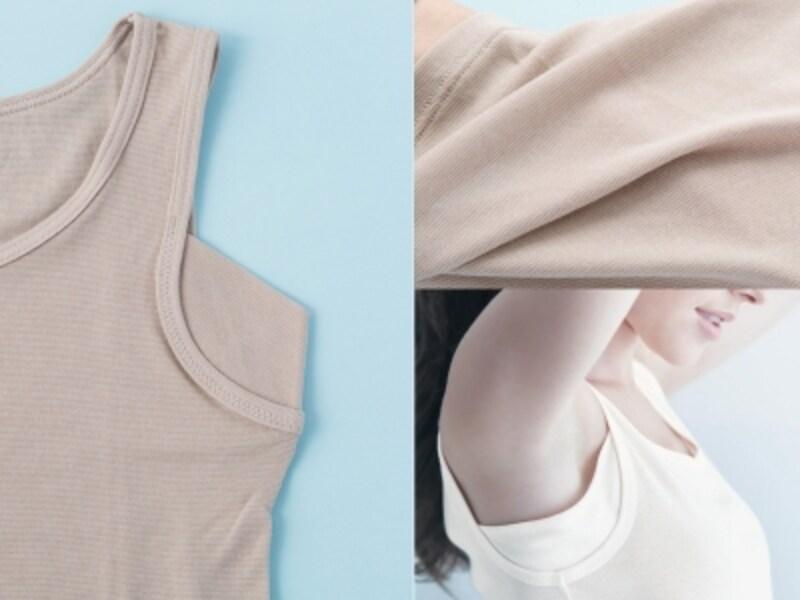 タンクタイプの汗取りインナーのパッドの形と、素材。