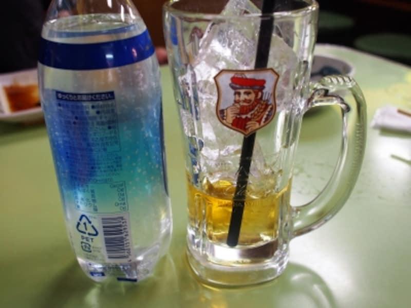 ウィスキーとソーダ水が別々にくる。