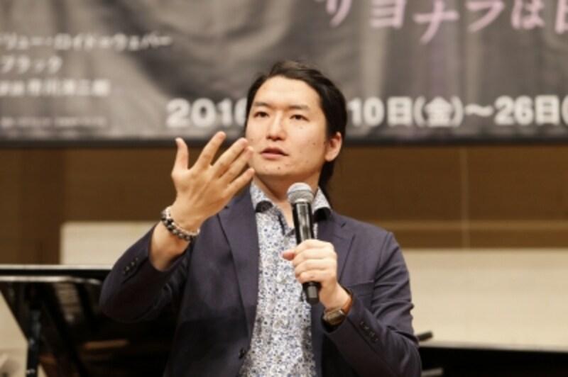 製作発表で本作について語る市川さん。