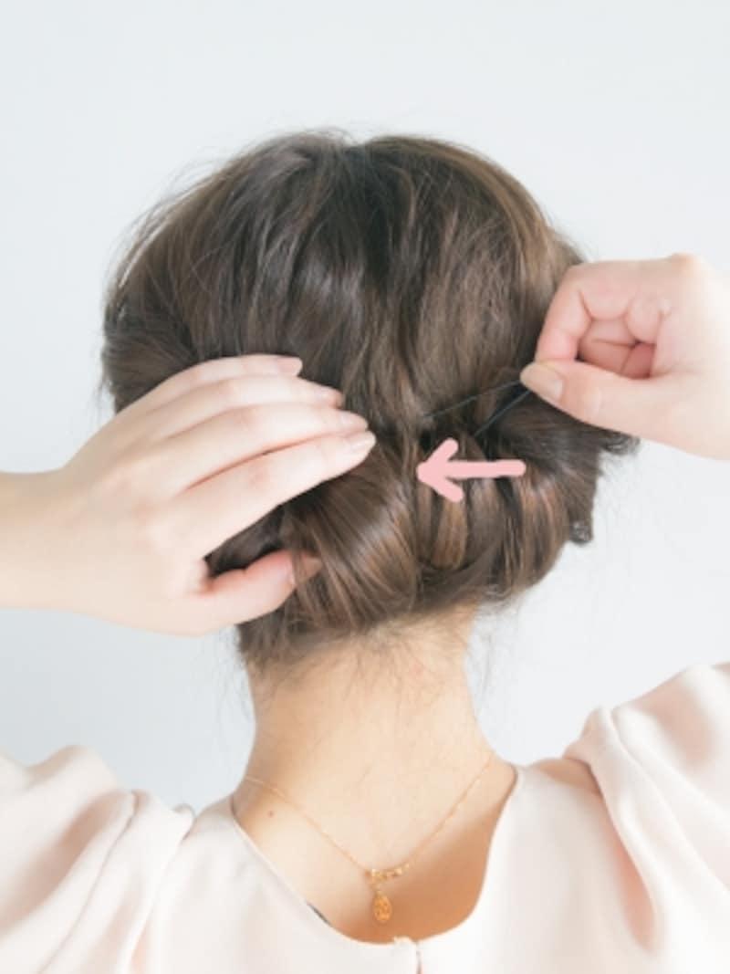まとめ髪・ギブソンタックのやり方10しっかり留まるまで数本使う