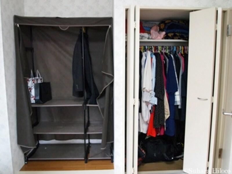 寝室クローゼット収納と洋服ラック