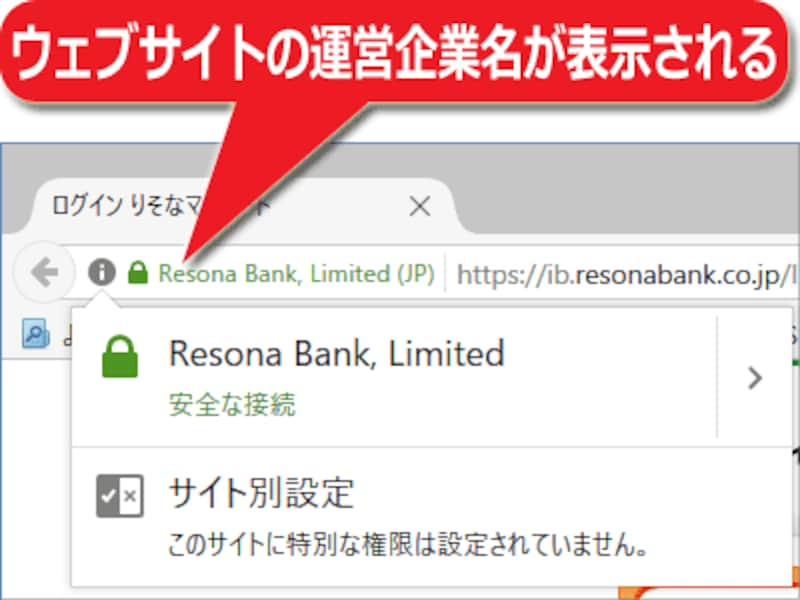 EV認証だと、ウェブサイトを運営している企業名がアドレス欄の端に表示される(りそな銀行の例)