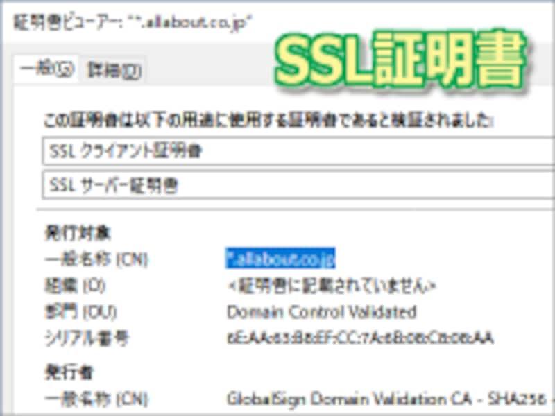 SSL証明書の中身は、ブラウザの錠前アイコンをクリックするなどすれば表示できる
