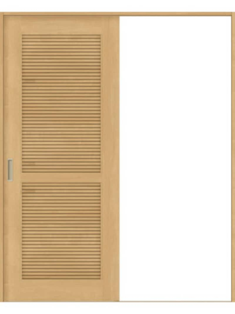 ルーバーで通風を確保できるデザインの引戸タイプ。[InterioラシッサS クリエ Vレール片引戸標準 LTA(通風タイプ)クリエペール]  LIXIL