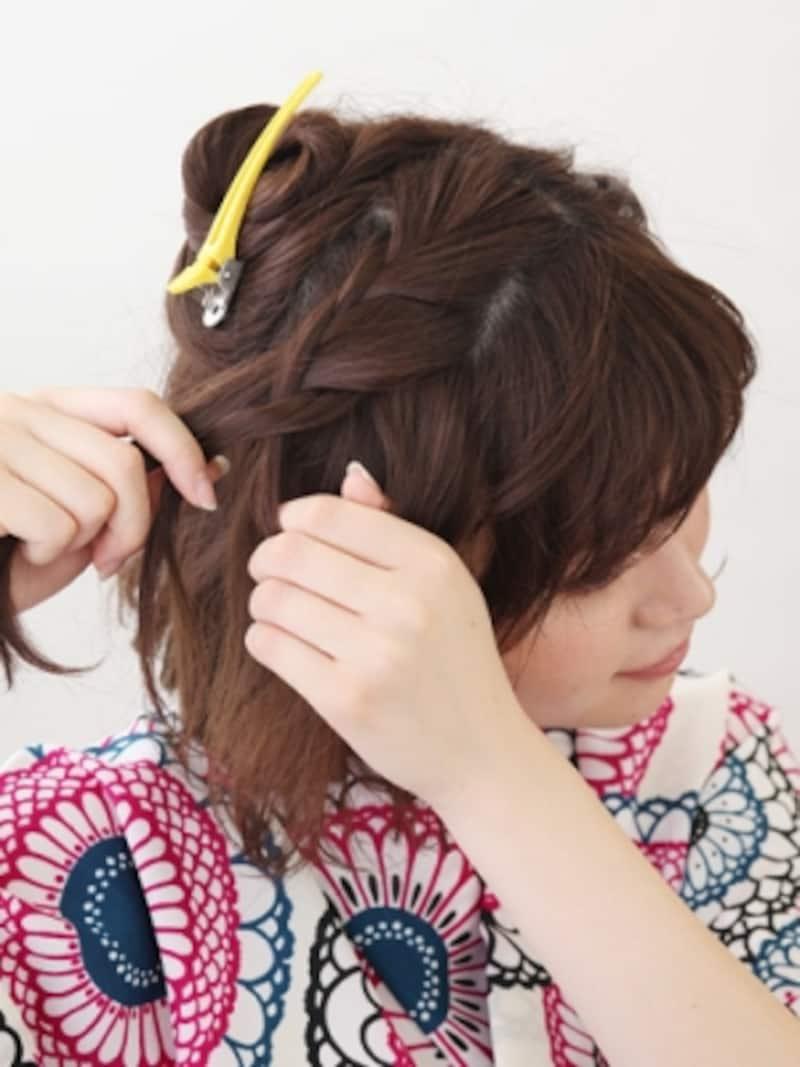 前側から毛を足しながら片編みに