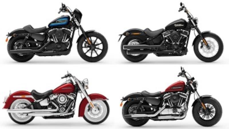 左側に並ぶアイアン1200(左上)やデラックス(左下)とキャンディフレークを合わせたり、逆にマットデザインのヘルメットとストリートボブ(右上)やフォーティーエイトスペシャル(右下)のチョッパーモデルとを組み合わせるのも面白い。