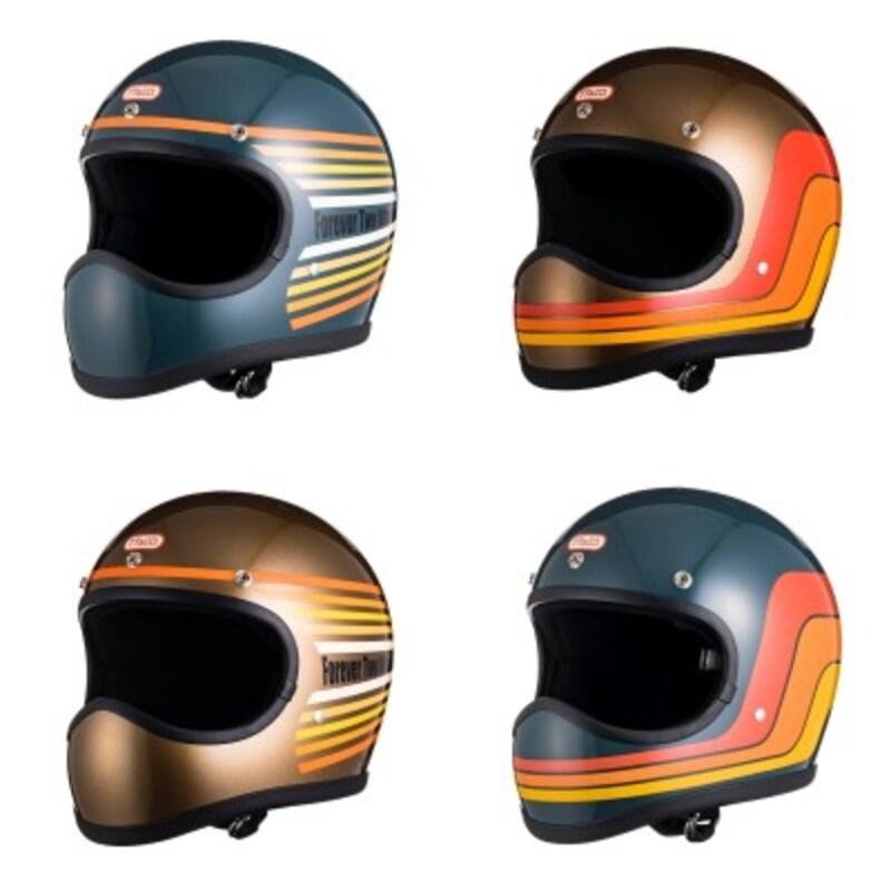 TT&カンパニーの新作フルフェイス「トゥーカッター」をベースに、1970年代のレインボーデザインやラインデザインを取り入れた4カラーが揃った。