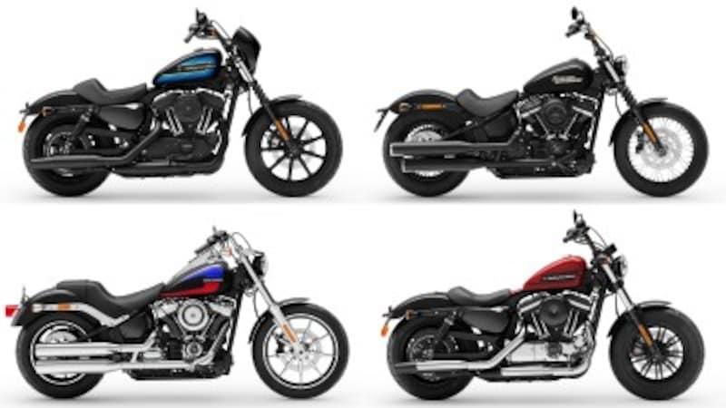 ヘルメットデザインのキーワードから自ずと導き出されるのが、アイアン1200(左上)、ストリートボブ(右上)、ローライダー(左下)、フォーティーエイトスペシャル(右下)だろう。