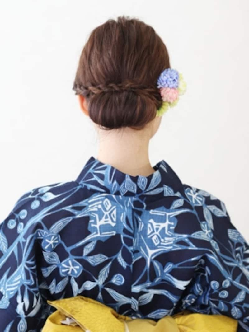 ロング浴衣・シニヨン風簡単アップヘアアレンジ