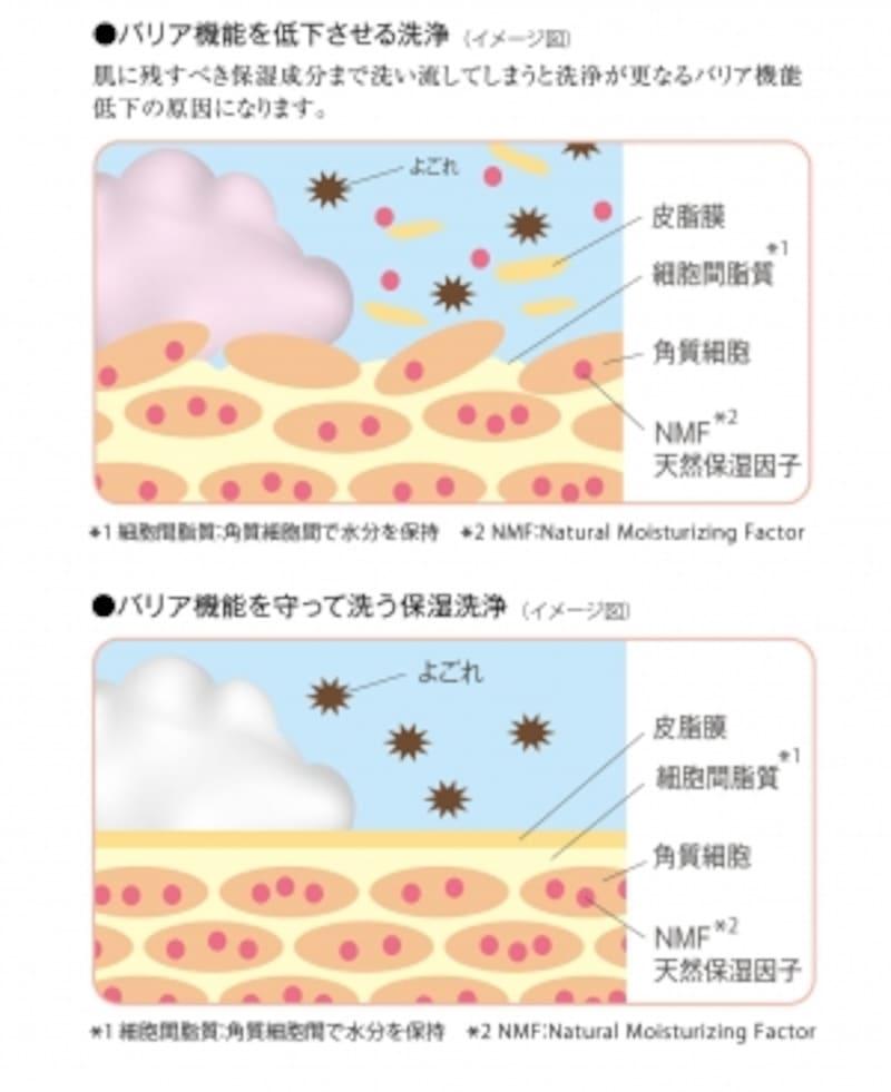 上:バリア機能を低下させる洗浄(イメージ図)undefined下:バリア機能を守って洗う保湿洗浄(イメージ図)undefined画像提供:第一三共ヘルスケア