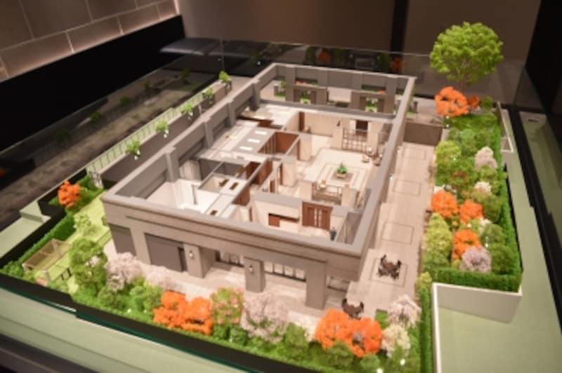「ブランズザ・ハウス一番町」の1階共用部の模型