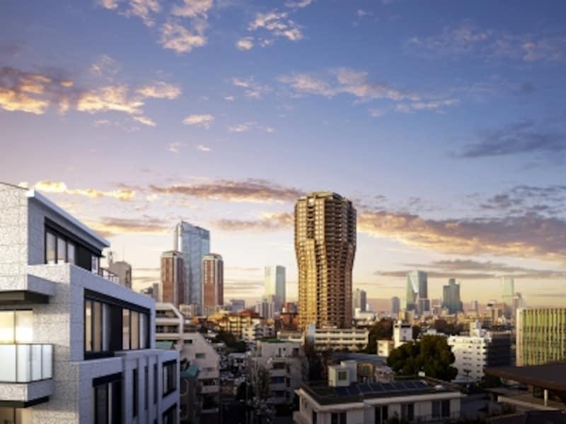 北方向の眺め。左建物が「ザ・パークハウスグラン麻布仙台坂」