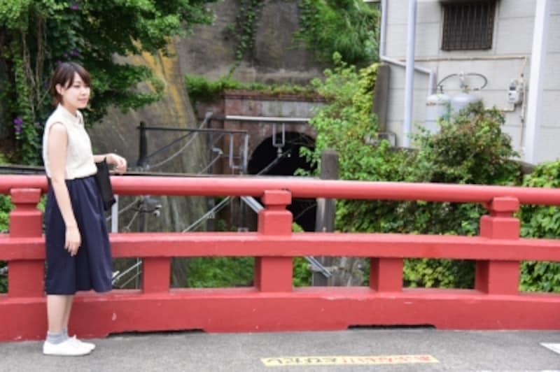 映画の中に何度も登場し、印象的だった赤い欄干の「桜橋」