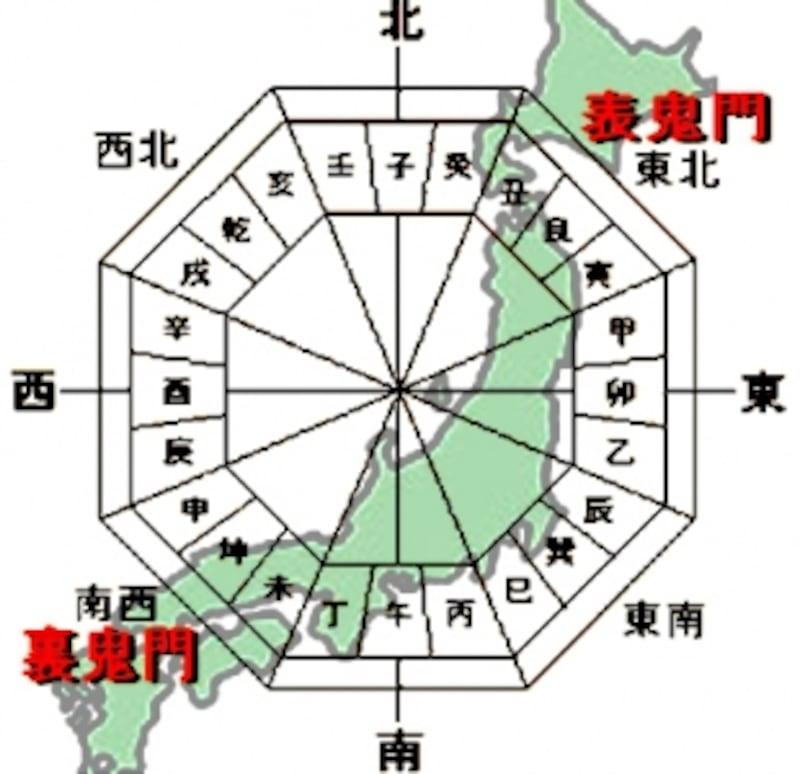 北東から南西に連なる日本列島と鬼門・裏鬼門