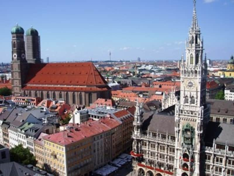 聖ペーター教会の塔から眺めるミュンヘン旧市街