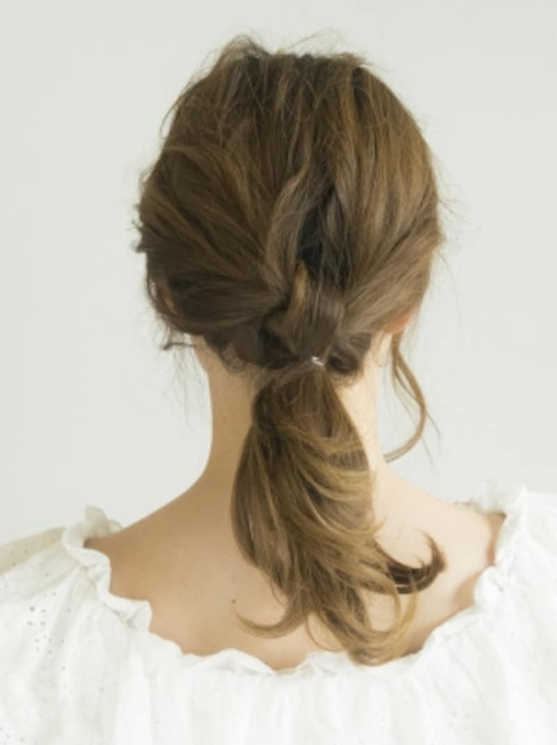 髪の毛の結び目ができた状態