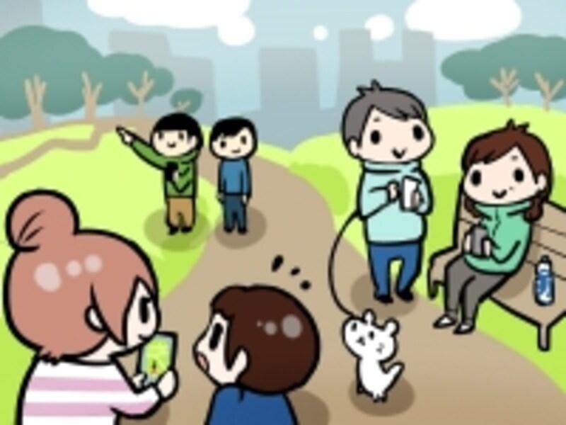 ポケモンGOを遊ぶ人の図