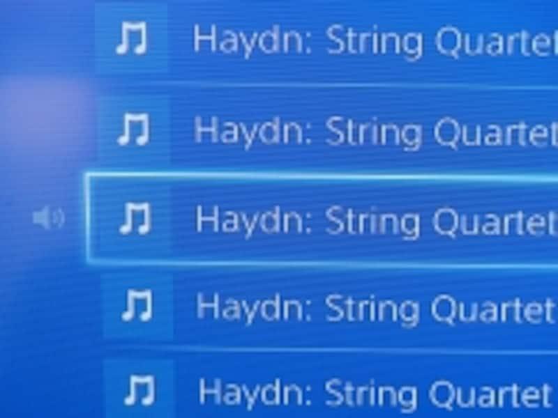 PS4でMac上の音楽を再生する様子。