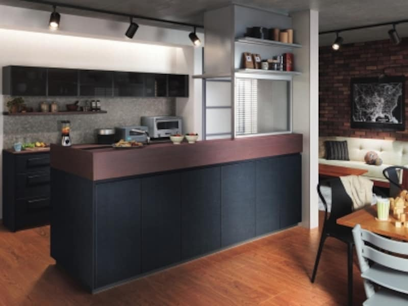 壁面のカウンターに家電スペースを確保。リビングからの眺めに配慮した高さの対面カウンター。[ザ・クラッソ]undefinedTOTOundefinedhttps://jp.toto.com/