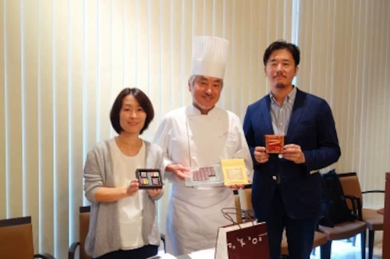 左から、ACE事務局長白木朋子さん、ショコラティエパレドオール三枝俊介シェフ、立花商店株式会社生田渉さん