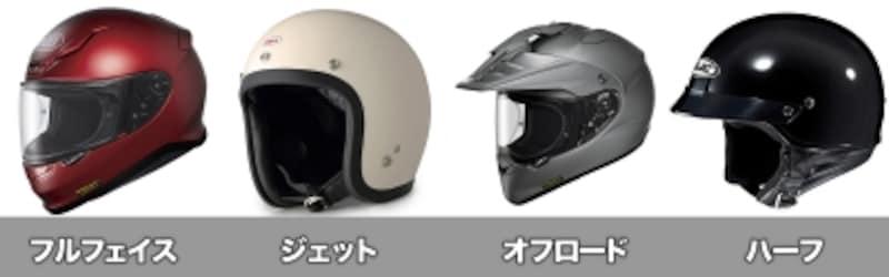 フルフェイス、ジェットヘルメット、オフロードヘルメット、ハーフヘルメット(半キャップ)と、大きく分けると4タイプとなる。顔全体を覆っているフルフェイス型ほど、万が一のシーンで頭を保護してくれる