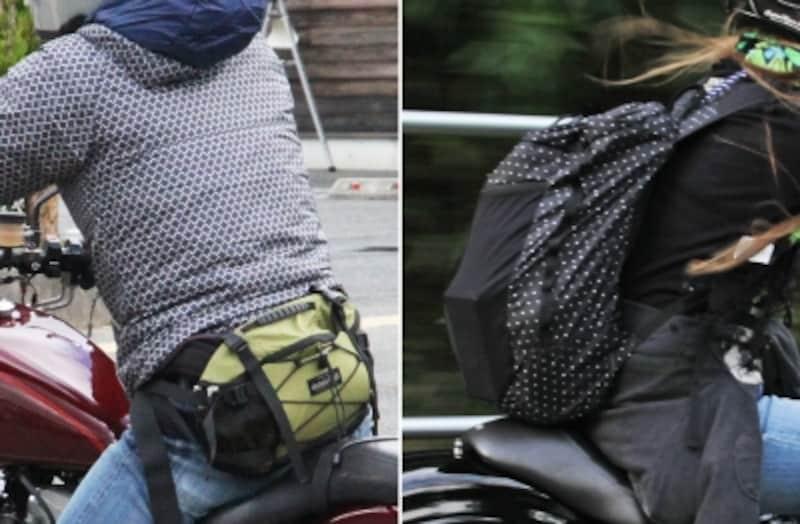 リュックタイプは積載に秀でる一方、ライディング時の肩への負担が大きい。腰に装着するポーチは操作性を邪魔せず、ちょうどいいバッグだと言える