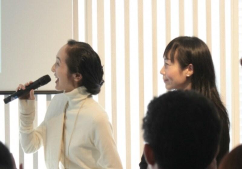 ラッピングデザイナー山田てるみ氏(左)、整理収納アドバイザー小川奈々氏(右)