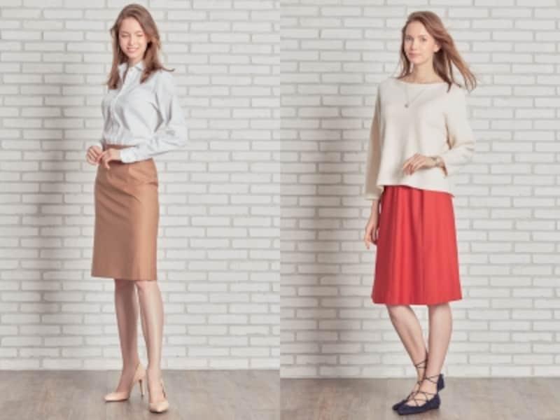 ドレスコード堅めの職場やシーンではタイトスカートが安心ですが、フレアスカートでもじゅうぶんビジネス対応できますundefined画像提供:HANABISHI