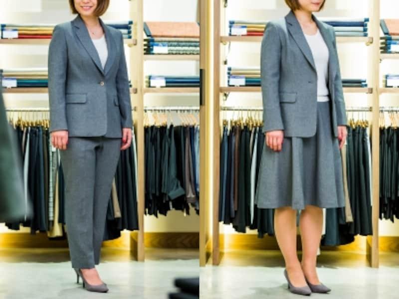 左から、ジャケットとパンツのセットアップ、ジャケットとスカートのセットアップ。