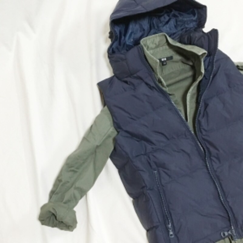 ユニクロメンズのワークシャツとダウンベスト