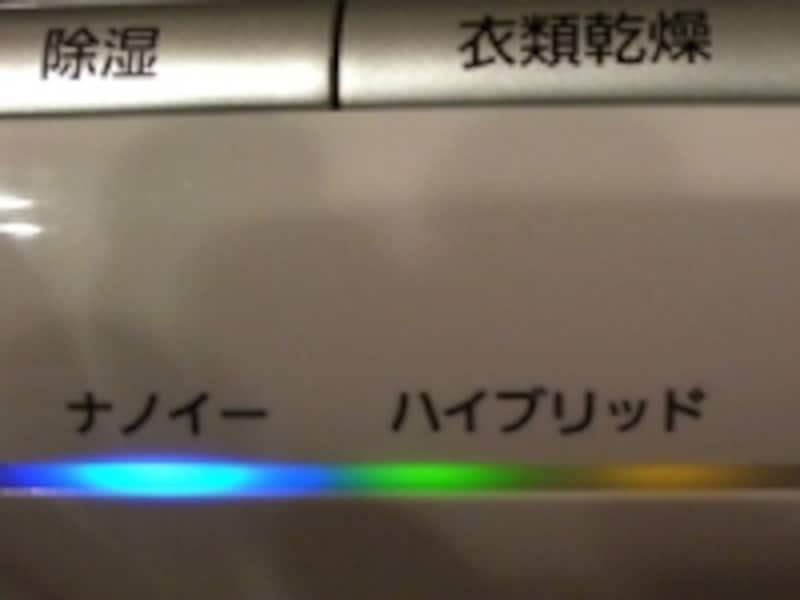 運転モードサイン。緑と橙のランプはハイブリッド運転中の意味