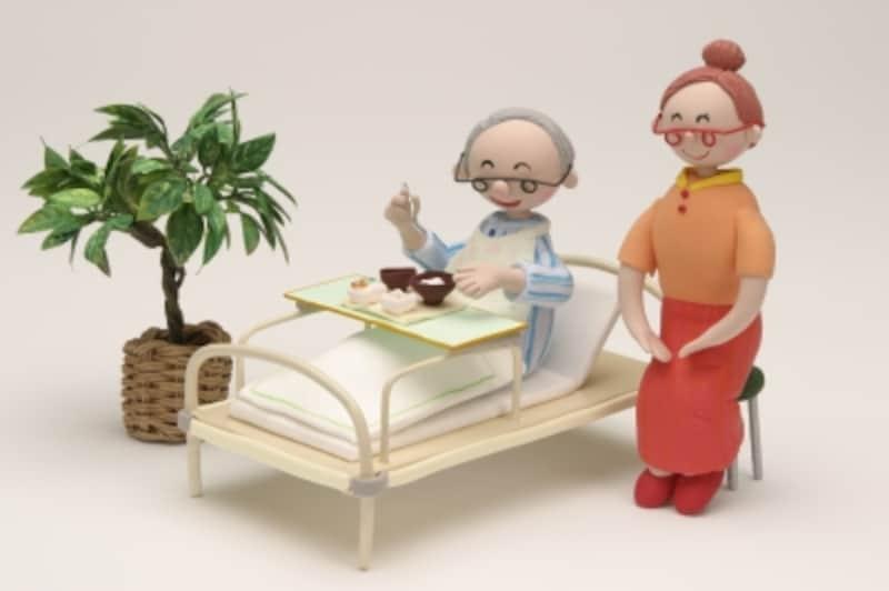 ベッドで食事中の人形