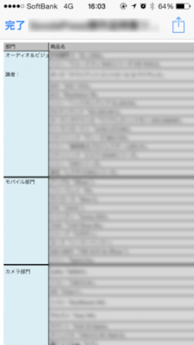ファイルは、LINEアプリ内で閲覧が可能。Excelファイルを開いたところ