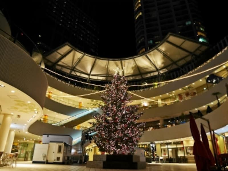 3階メイン広場には、本物のモミの木を使った高さ約8mのツリーが輝きます(2016年11月7日撮影)