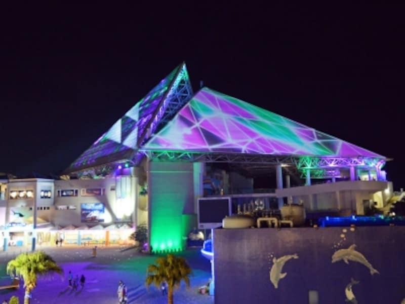 この冬初登場の「スカイライトマジック」は高さ約52mの光のピラミッドを舞台にした音と光と映像のエンターテインメントショー(画像提供:横浜・八景島シーパラダイス)
