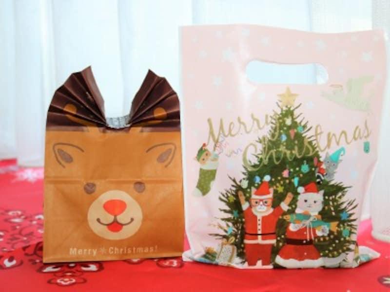 ニャンタクロースのバッグと立体的なトナカイのバッグ