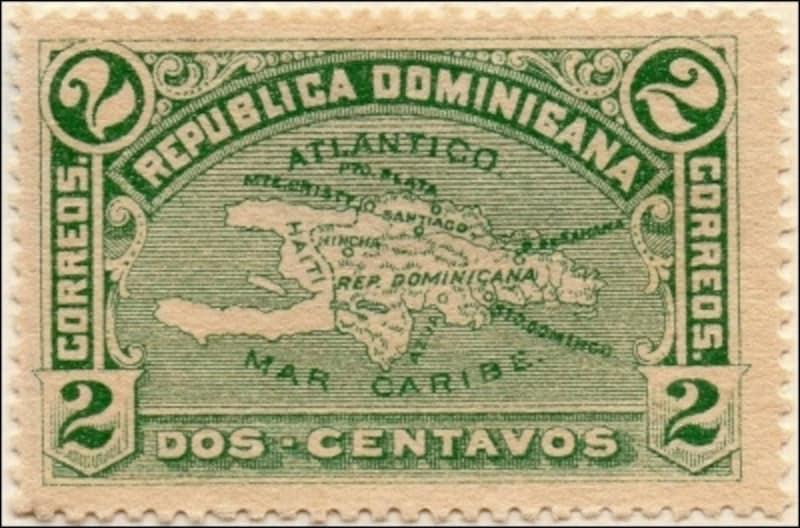 ドミニカ共和国の地図切手