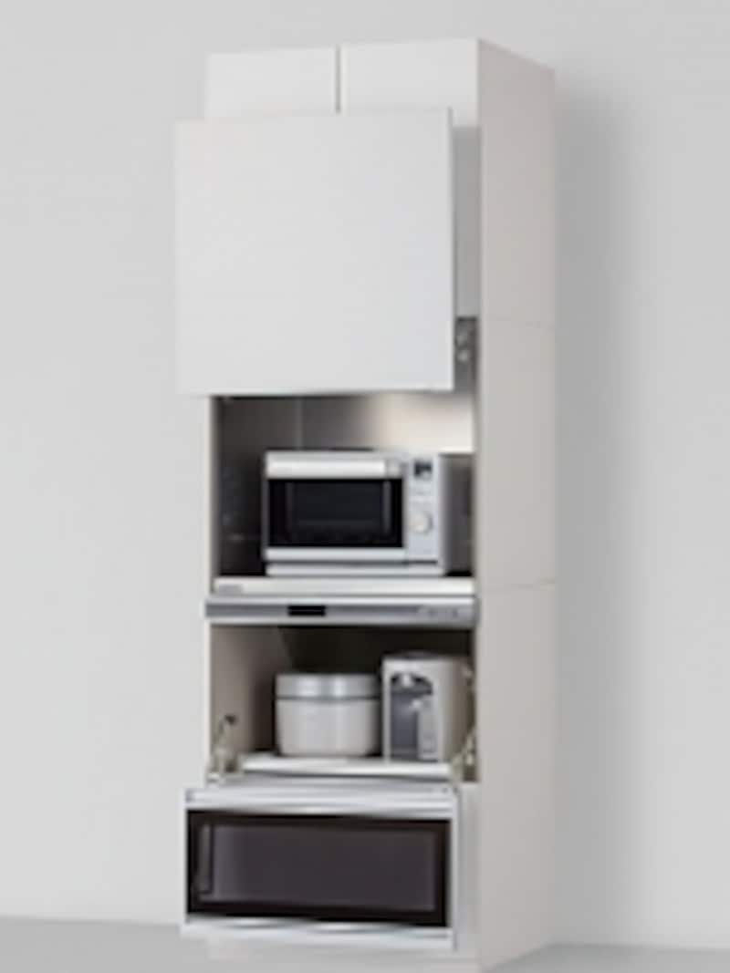 undefinedレンジや炊飯器、ポットなどを収納。引き出して使えるので、作業がスムーズに。[リシェルPLATundefined隠せる家電収納]