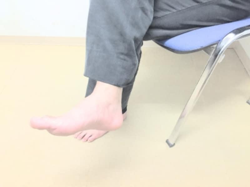 足首を回している人
