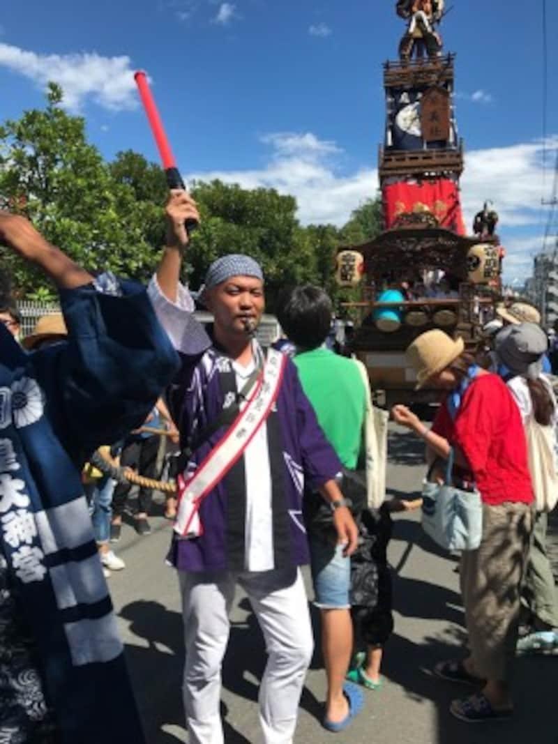 毎年8月17日に行われる鵠沼皇大神宮例祭での穴水大介さん