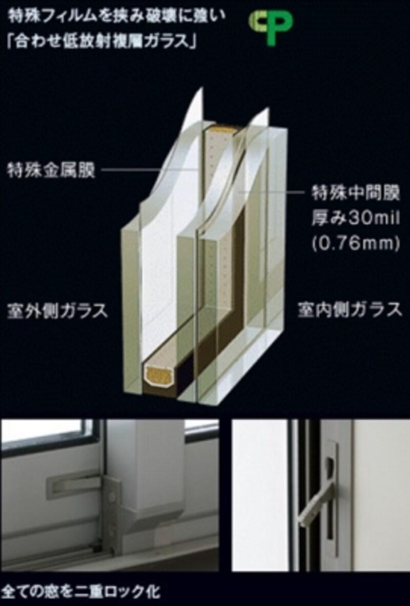 防犯ガラスや二重ロックなどで防犯対策