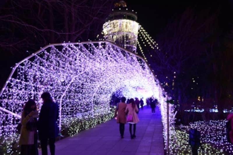 7万個のスワロフスキー・クリスタルを使用した光のアーチ【湘南シャンデリア】(2017年12月15日撮影)