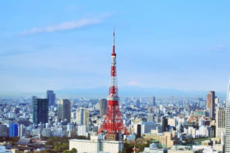 東京タワーと東京都港区付近