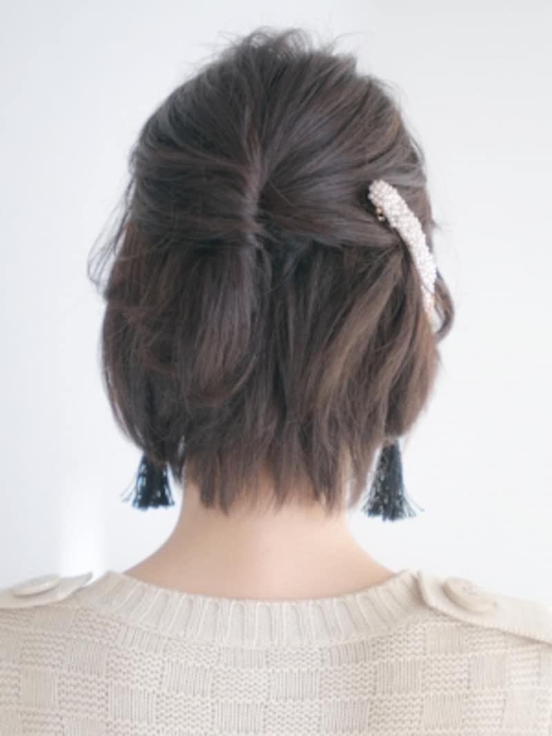 ピン1本でねじるだけ!結婚式の髪型・簡単パーティアレンジショート